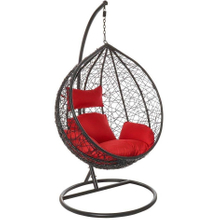 Outdoor Double Seat Garden Furniture Rattan Patio Hanging Swing Egg Chair with Stand