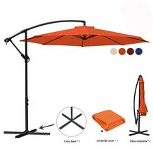Patio Umbrella 10 Ft Offset Cantilever Umbrella Outdoor Market Hanging Umbrellas & Crank Cross Base, 8 Ribs(Navy Blue)